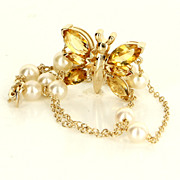 Estate 14 Karat Yellow Gold Citrine Cultured Pearl Butterfly Necklace Pre-Owned