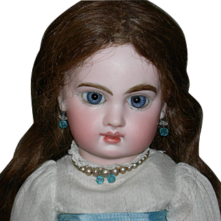 """E6J JUMEAU - Gorgeous Blue Bulging Paperweight Eyes!! - 14"""" - Early Original Finish Marked Body - Extra Balls By The Hips & Shoulders!! - Orig Wig & Cork Pate!! - Pretty Clothes & Jewelry!!!"""