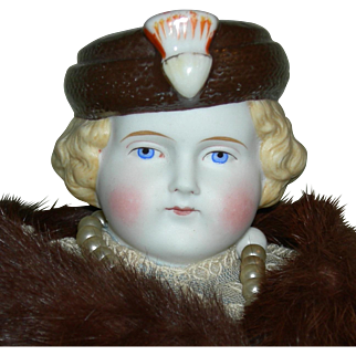 """MOLDED HAT - PARIAN BISQUE - Alt, Beck & Gottschalk - Rare!! - Old Cloth Body!! - 15"""" - Nice Clothes & Accessories!! - Germany"""