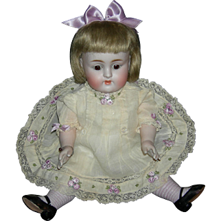 """GIANT 11"""" - ALL BISQUE KESTNER w/ LAVENDER STOCKINGS!!! - Sleep Eyes - Pretty Embroidered Clothes - Perfect!!!"""
