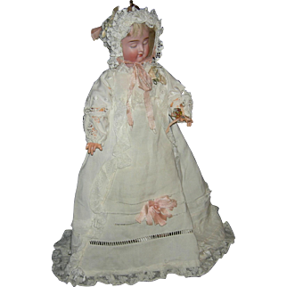 """CARL BERGNER - 3 FACE DOLL - Orig. PULL STRING BODY - 13"""" - Asleep, Happy, Angry!!!"""