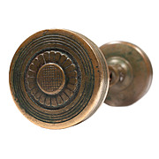 Wonderful Antique Cast Bronze Doorknob Set, Peters Com. Lock Co.