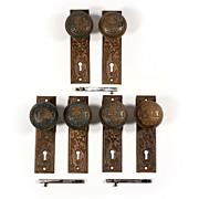 """Remarkable Antique """"Broken Leaf"""" by Lockwood Door Hardware Sets, Cast Bronze – ONE AVAILABLE"""