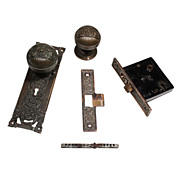 "Amazing Rare Figural RHC ""Columbian"" Entrance Door Hardware Set, Darkened Bronze"