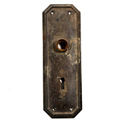 Antique Arts & Crafts Door Backplates, Octagonal