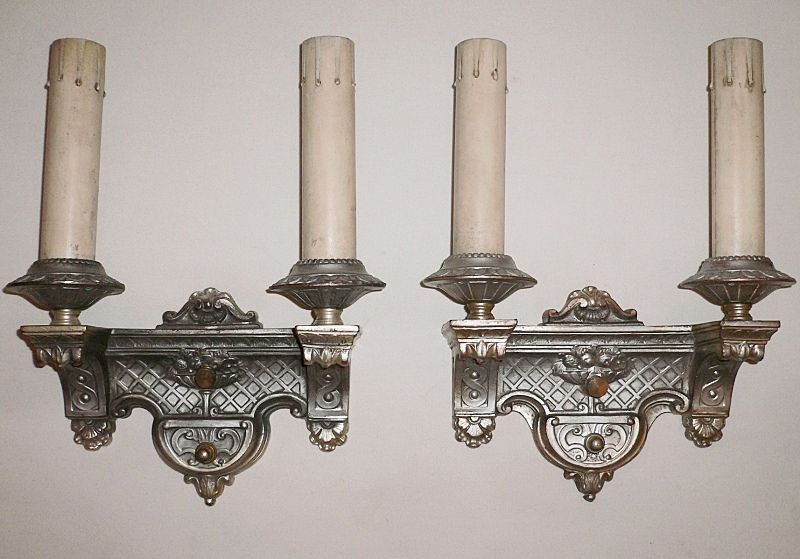 Pair of Exquisite Silver Plated Double-Arm Sconces Made By Empire, c. 1910