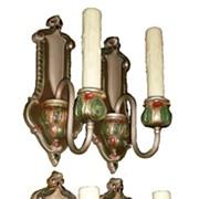 Four Matching Antique Brass Neoclassical Single-Arm Sconces, Original Polychrome Finish