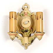Pretty Antique Double Arm Sconce with Original Polychrome, Markel Electric Products