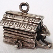 "1940's Vintage Sterling ""In The Doghouse"" Mechanical Charm Man Moves"