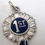 Vintage Wells Sterling Enamel First 1st Place Blue Ribbon Charm
