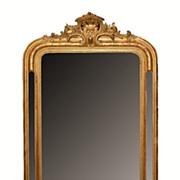 Gilt mirror, Louis Philippe Style engraved frame