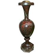 Jasper ewer or baluster shaped urn mounted as lamp