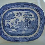 English Blue Willow Platter  19th Century