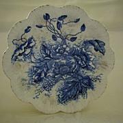 Antique Flow Blue Floral Pate 1800's