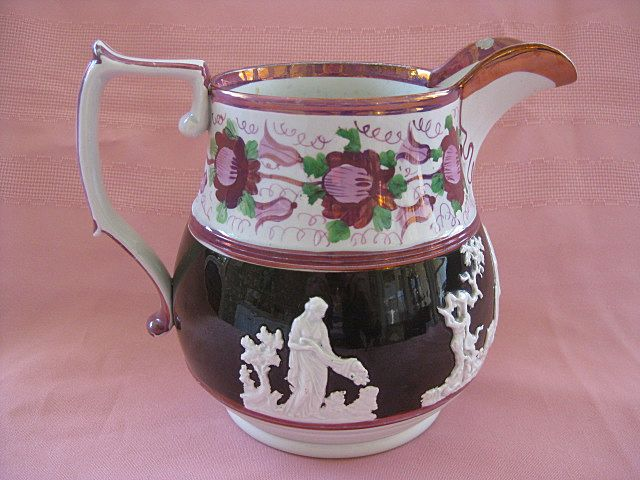 Antique Pink Lusterware Pitcher/Jug with White Relief Molding  1800's