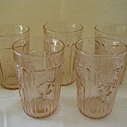 """Set of Five Pink Depression Glass Mayfair """"Open Rose""""  Juice Glasses  5 0z. Tumblers"""