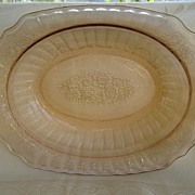 """Pink Mayfair """"Open Rose"""" Oval Depression Glass Bowl"""