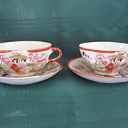 Set of Two Oriental Geisha Girl Cup and Saucer