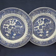 "Two 9"" Blue Willow Plates "" Washington Old Willow"""