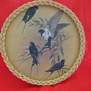 Vintage Rattan Border Tray with Bird Print