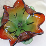Vintage Rubina Verde Art Glass Bowl