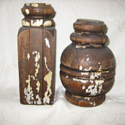 Pair of Old Wood Balusters from Staircase