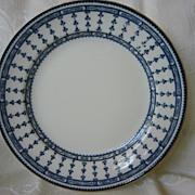 "Flow Blue Plate 9 1/2"" ( 2 )  Kneeling & Co.  Pattern ""Pompadour"""