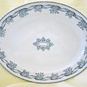 Large Antique Green and White Transferware Platter  Floral  John Meir & Son  1800's