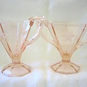 Elegant Pink Etched Glass Crystal Sugar and Creamer