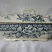 Antique Navy Blue Transferware Covered Vegetable Dish  Aesthetic Movement  Burgess and Leigh C. 1862