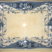 Large ca. 1895 Flow Blue Platter   Ford and Sons    Pattern Argyle