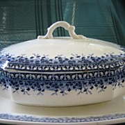 """Antique Earthenware Transferware Covered Vegetable Dish with Platter   Brownfields & Son   Pattern """" Ayr"""" 1800's"""