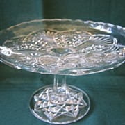 """Small 6"""" Pattern Glass Cake Stand or Plate"""