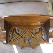 Victorian Wood Display/ Clock Shelf with Carved Leaves