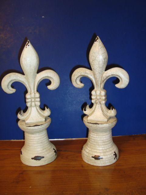 Pair of large French Fleurs de Lys