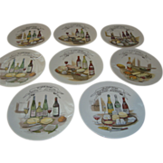 Set of 8 French cheese wine plates, porcelain with French inscriptions 8.5 inches