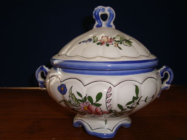 French hand painted earthenware tureen signed