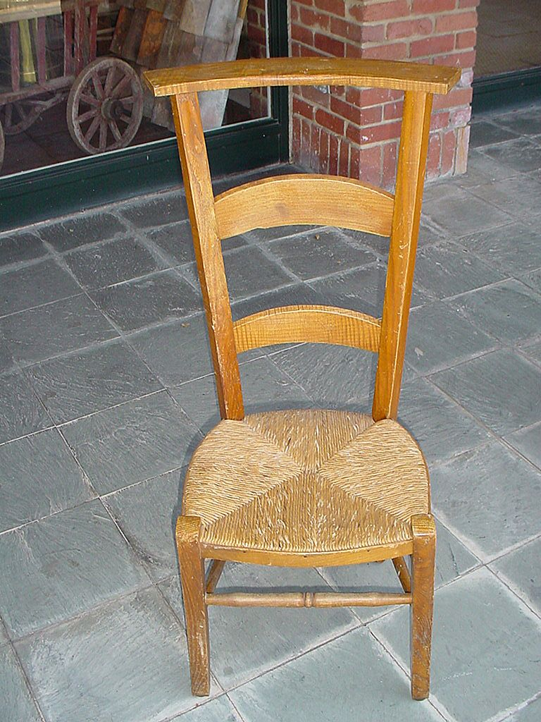 French prayer chair with rush seat late 1800