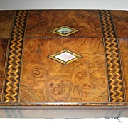 Antique Burl Walnut and Tunbridge Ware Inlaid Lap Desk / Writing Box