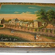 Spectacular Hand Painted Spa Games Counter Box c. 1800