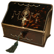 Exceptional Heirloom Quality Antique Tortoiseshell and Sterling Silver Writing / Stationery Box
