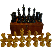 Antique English Jaques Staunton Chess Set With Red Crown Marks c.1900