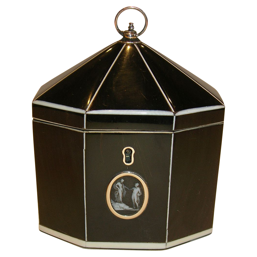 Rare & Magnificent Tented Horn Tea Caddy c.1800 - Cameo