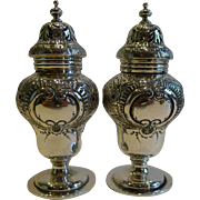 Handsome Large Pair Sterling Silver Pepper Pots / Pepperettes - Elkington & Co.