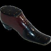 "Large (5 1/2"") Antique English Mahogany Pique Inlaid Shoe or Boot Snuff Box c.1830"