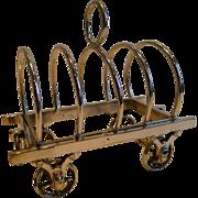 Rare Antique English Figural Toast Rack - Wagon / Caravan - Reg. 1879