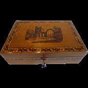 Antique Burr Holly & Tunbridge Ware Table Box - Muckross Abbey, Killarney