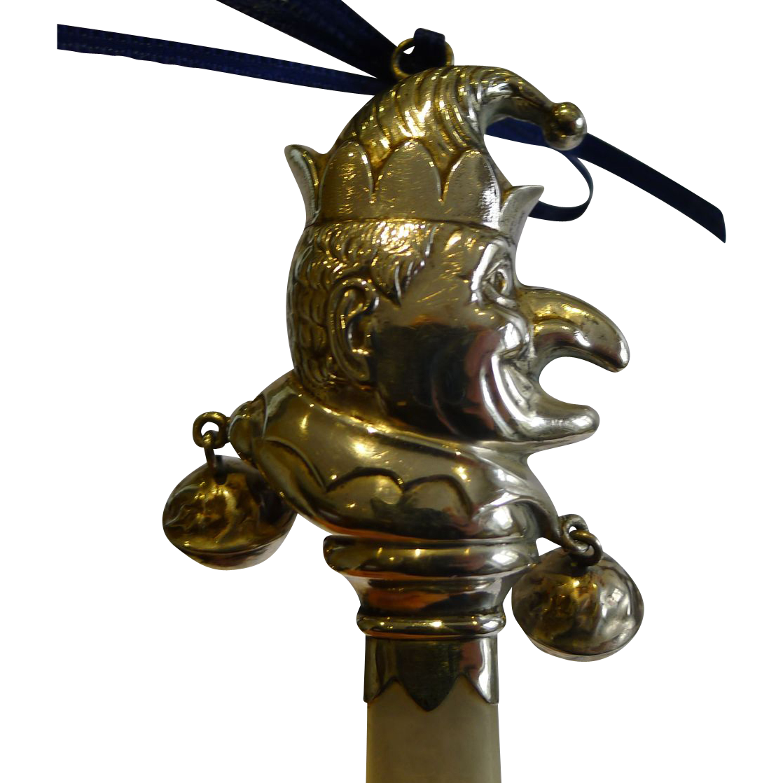 Mr. Punch English Sterling Silver Baby Rattle - Mother of Pearl Handle - 1934