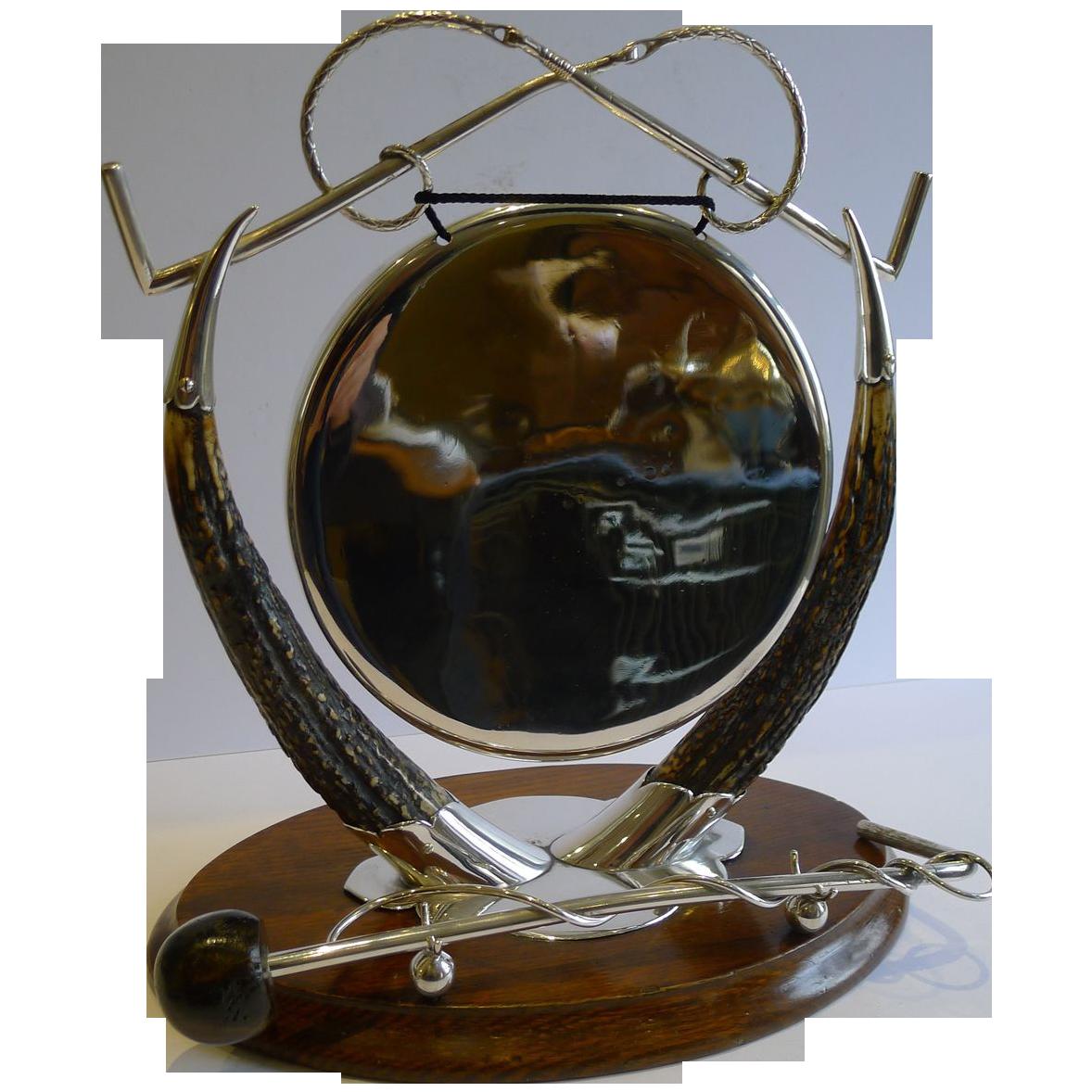 Antique English Equestrian Oak & Silverplate Dinner Gong c.1890/1900