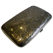 Large Antique English Sterling Silver Cigar Case by Walker & Hall - 1903